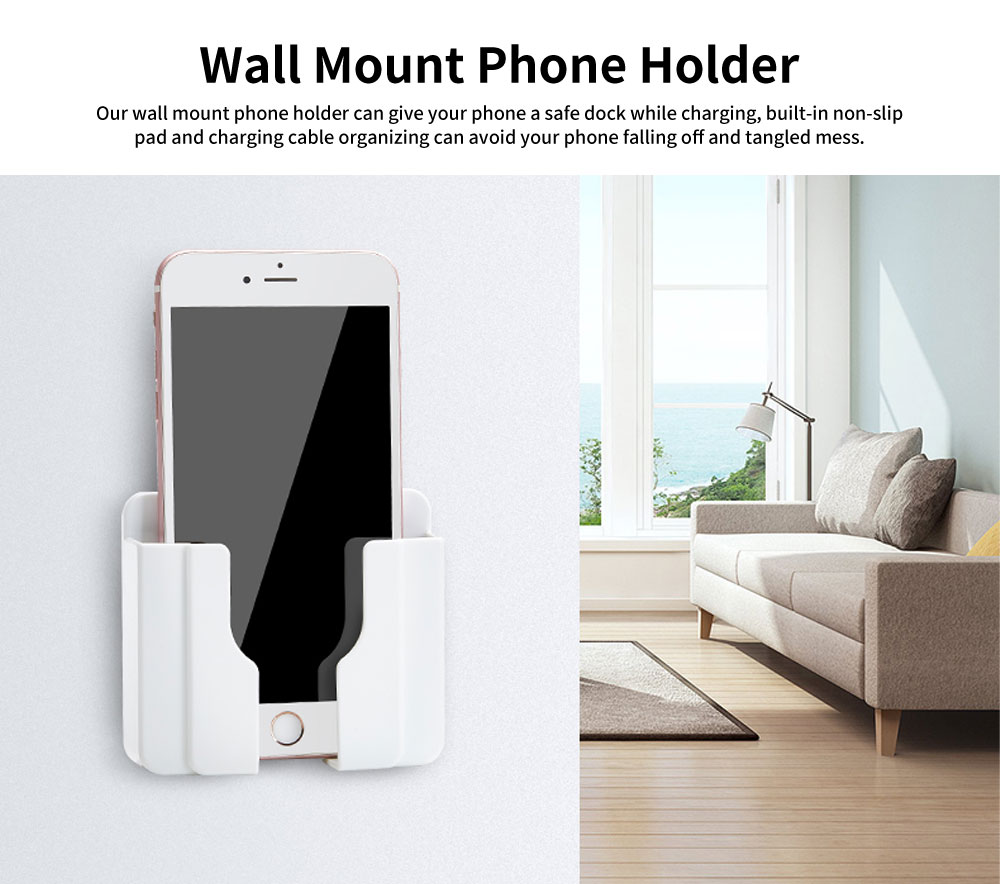 Wall Mount Phone Holder with Adhesive Strips, Charging Holder Compatible with iPhone, Smart Phone 0