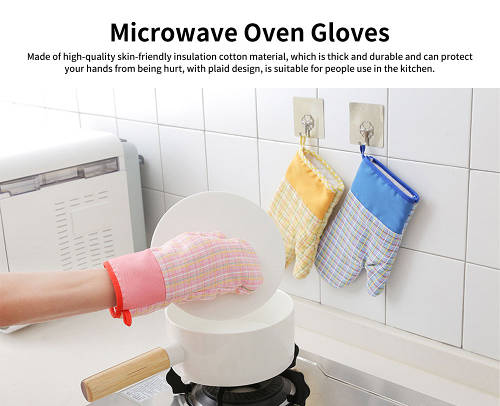 Cotton Microwave Oven Gloves, Heat Insulating Gloves with Gorgeous Plaid 0