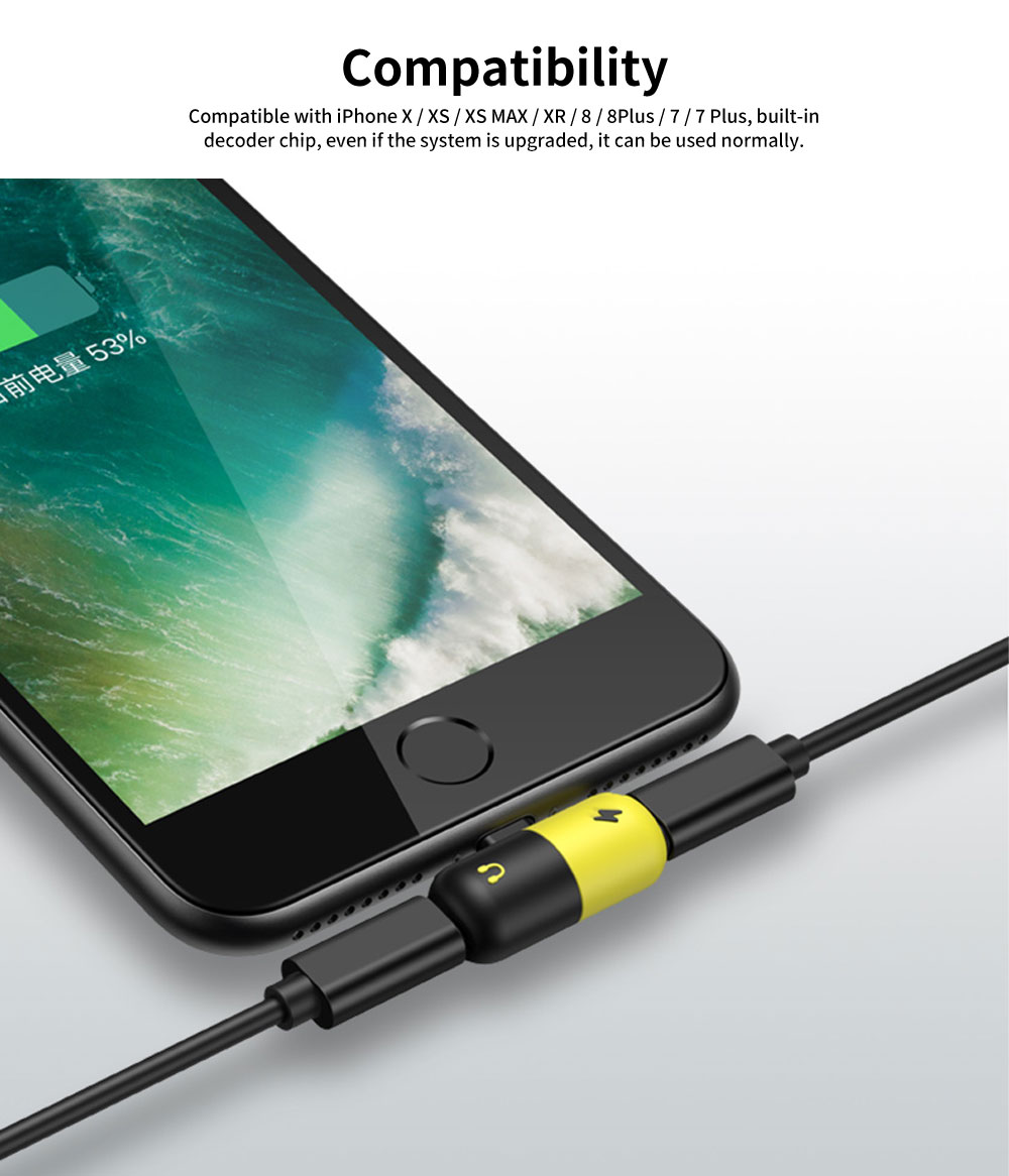 Headphone Adapter for iPhone, Earphone Splitter Adaptor, 2 in 1 Chargers & Audio Connector Charger Cable 7