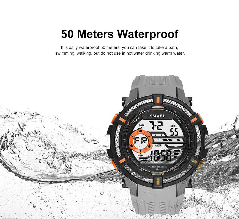 Multifunction Smart Electronic Watch, Luminous Mode, Water-proof, with Resin Strap 4