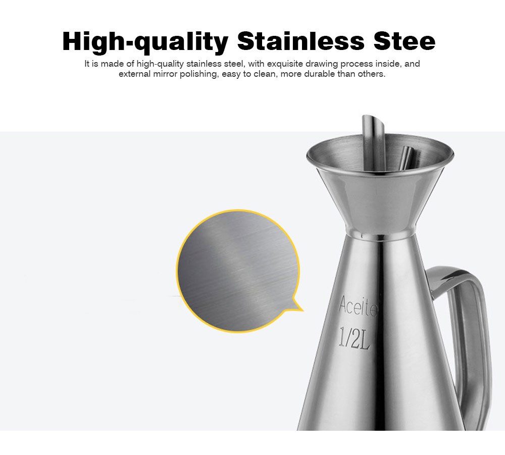 Stainless-steel Oil Can, Soy Sauce Bottle with Long Leak-proof Spout 3