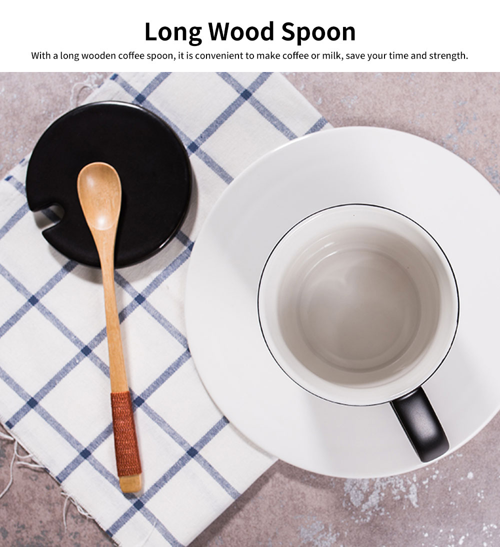 Minimalist Ceramic Mug with Wood Spoon and Cover, Stylish Milk Cup Coffee Cup, Black 11