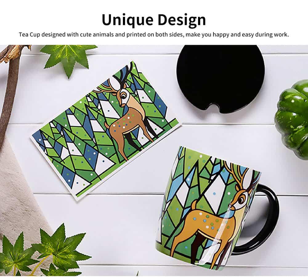 Animal Print Mugs, High Capacity Ceramic Tea Mug With Spoon 2