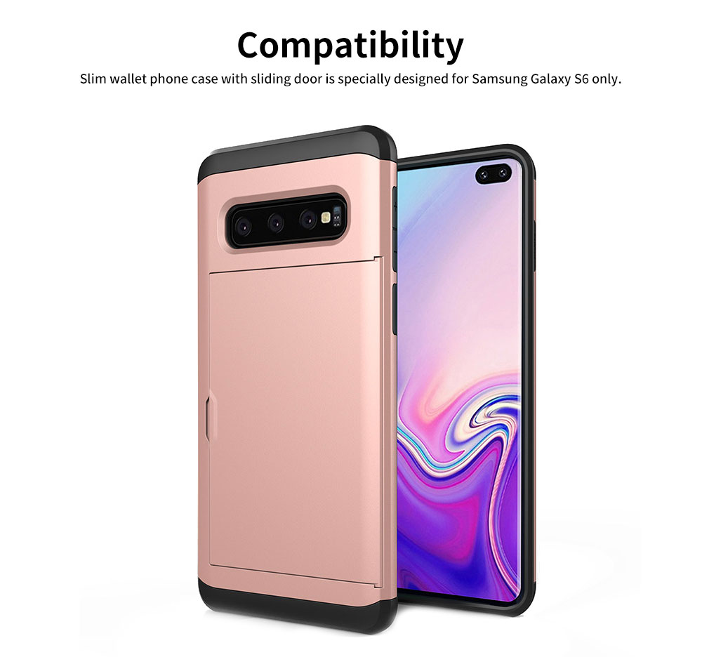 Protective Hard Shell for Samsung Galaxy S10, Phone Case Wallet Credit Card Holder with Sliding Door 3