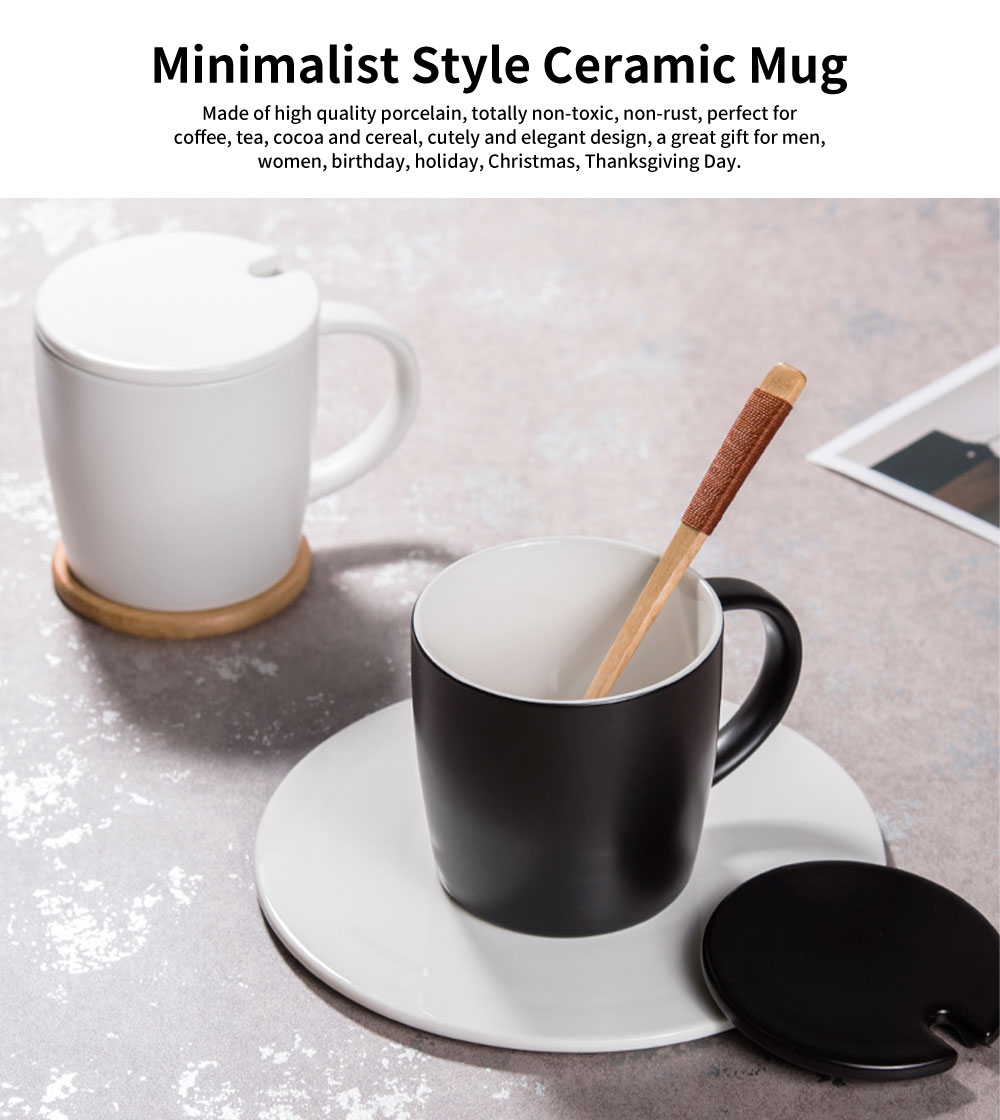 Minimalist Ceramic Mug with Wood Spoon and Cover, Stylish Milk Cup Coffee Cup, Black 6