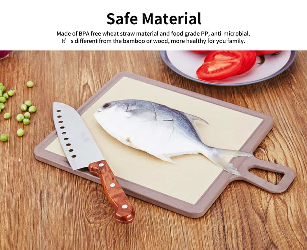 Plastic Chopping Board Set with Groove, Wheat Straw Kitchen Anti-mildew Cutting Board 1