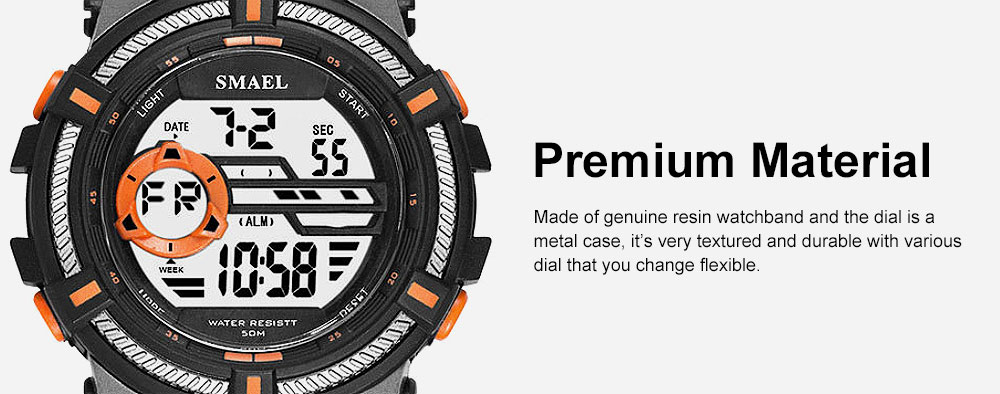 Multifunction Smart Electronic Watch, Luminous Mode, Water-proof, with Resin Strap 1