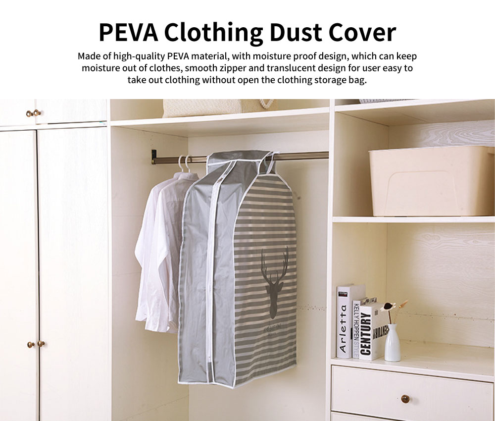 PEVA Clothing Dust Cover, Moisture Proof Clothing Storage Bag with Smooth Metal Zipper 0