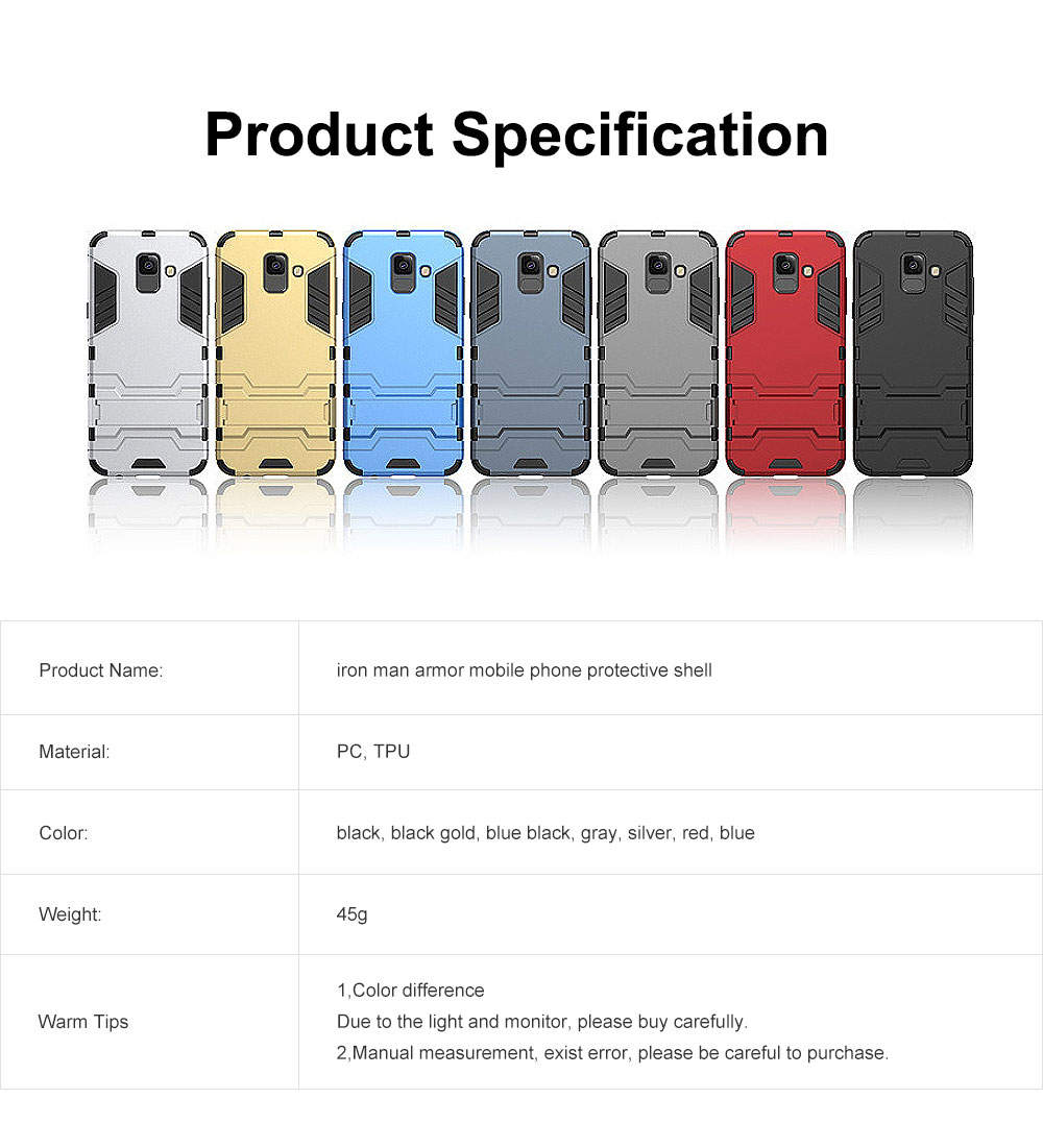 Iron Man Phone Case for Samsung A6, A6 Plus 2018, Armor Phone Protective Shell With Contact Support 22