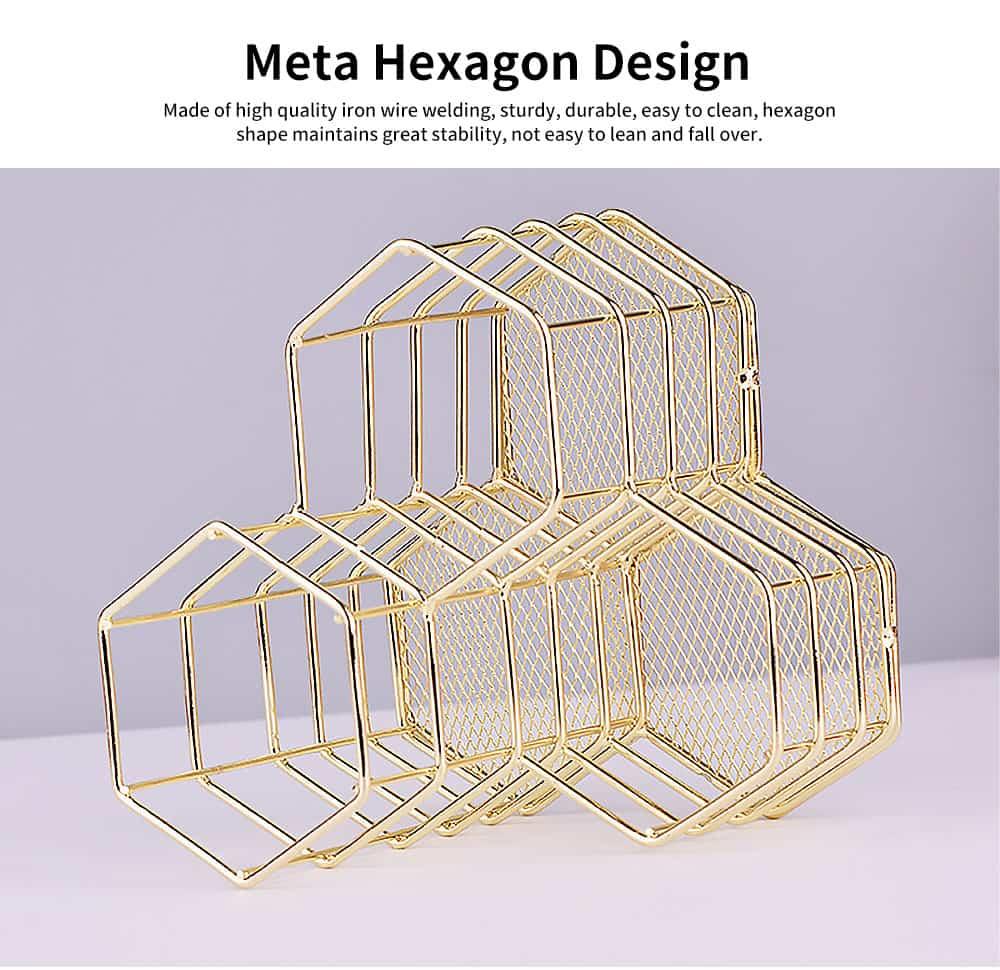 Metal Wire Hexagon Shelves, Desktop Storage Book Rack Penholder 1