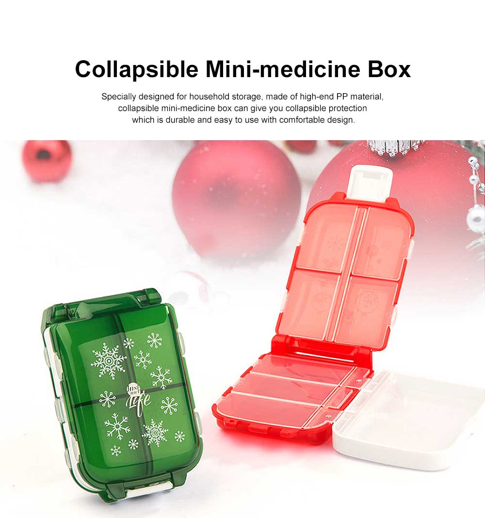 Christmas Pill Boxes, 3-Layer 8-Grid Mini Weekly Pill Case, Pack of 2 0