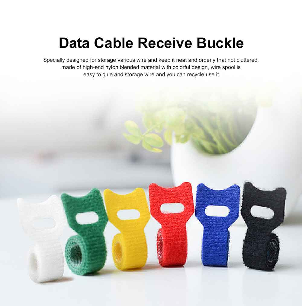 Data Cable Receive Buckle with Hook & Loop Fasteners, Nylon Blended Charging Cable Finisher 0
