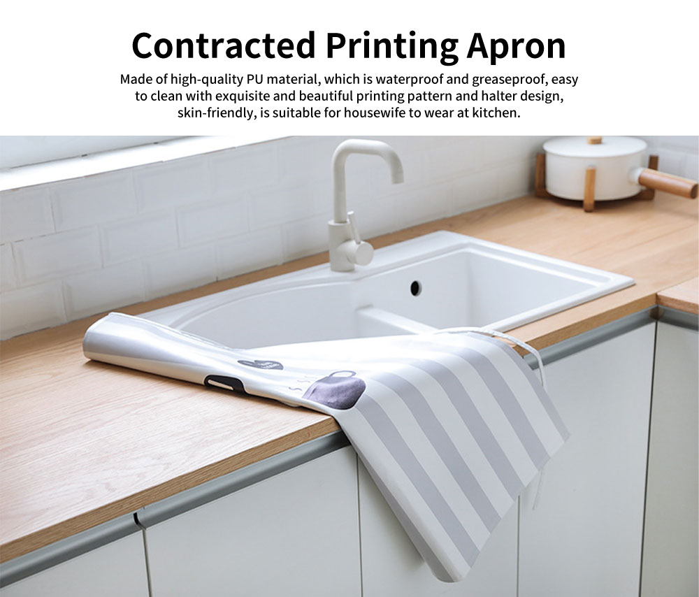 Waterproof Kitchen Apron, Greaseproof Contracted Printing PU Apron 0
