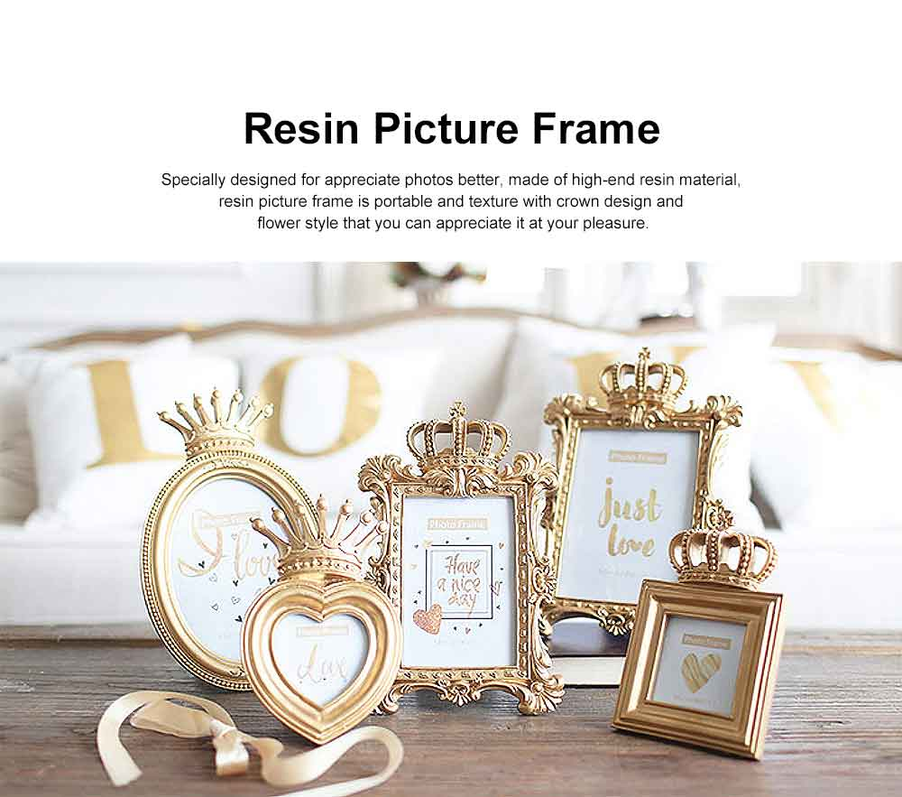 Crown Shaped Picture Frames, Rectangle Bachelor Style Wall Hanging/Desktop Photo Frame 0