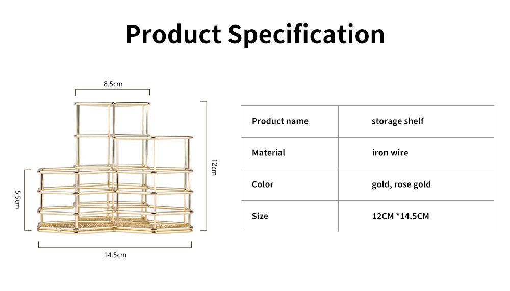 Metal Wire Hexagon Shelves, Desktop Storage Book Rack Penholder 6