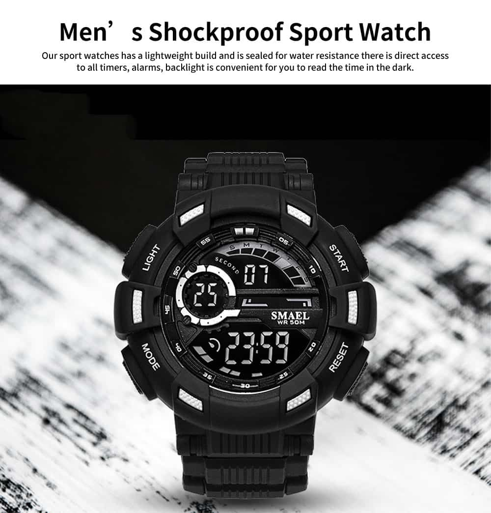 Men's Waterproof Sport Watch, Shockproof Digital Watch with Stainless Steel for Outdoor Use 0
