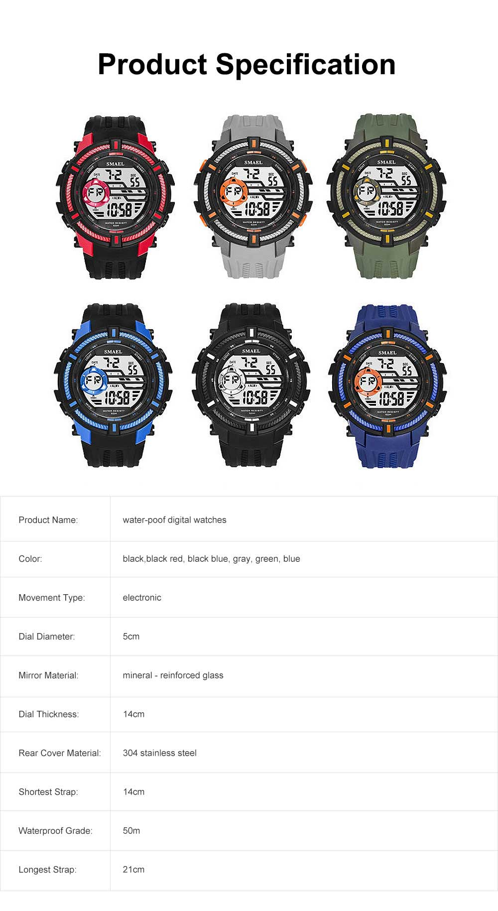 Multifunction Smart Electronic Watch, Luminous Mode, Water-proof, with Resin Strap 6