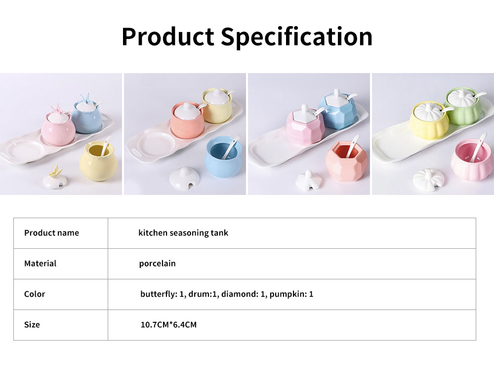 Condiment Set Spice Box With Spoon Lid And Base, Macaron Color Condiment Container Seasoning Box Set 6
