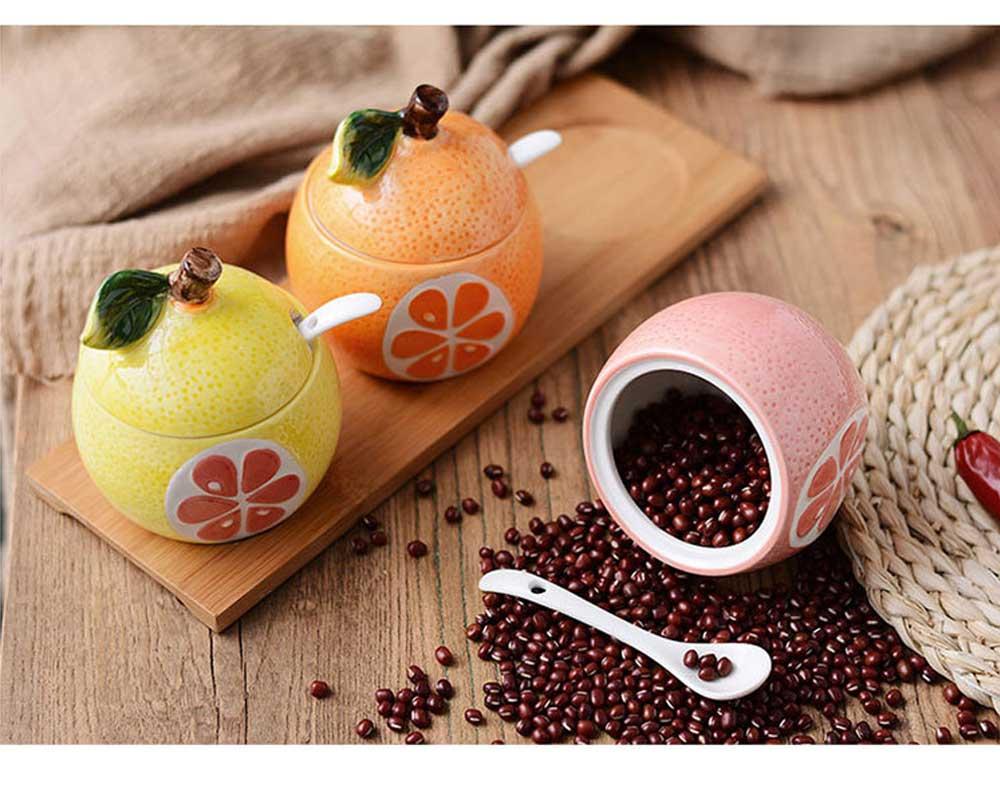 Ceramic Spice Jars With Lids, Cute Fruit Seasoning Jar For Placing Chili, Sugar, Salt 5