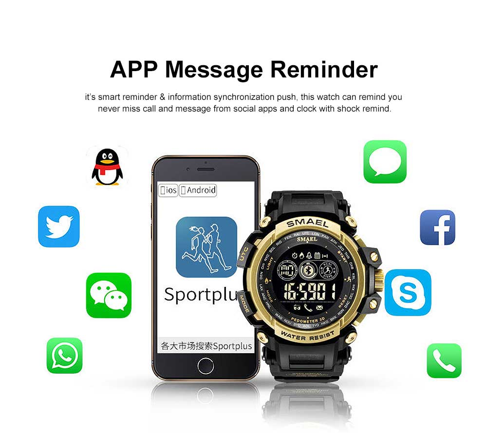Water-poof Smart Bracelet with Resin Strap, Multifunctional Electronic Watch Supporting Sports Step with IOS/Android Bluetooth 2