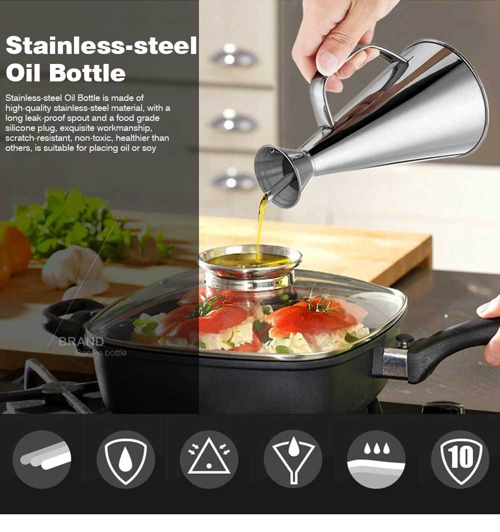 Stainless-steel Oil Can, Soy Sauce Bottle with Long Leak-proof Spout 0