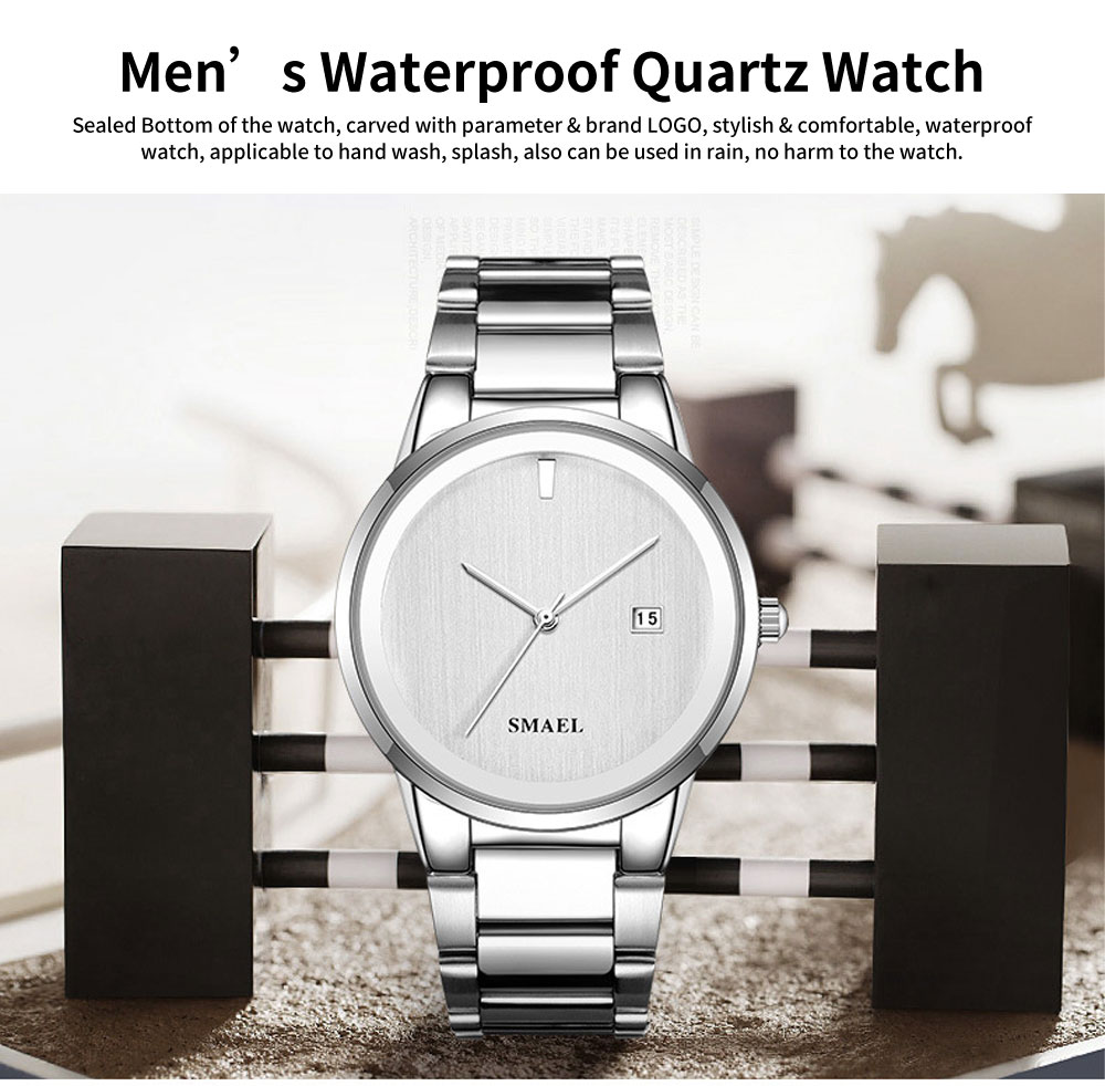 Men's Waterproof Quartz Watch with Steel Watch Strap, Fashionable Leisure Outdoor Sport Watch 0