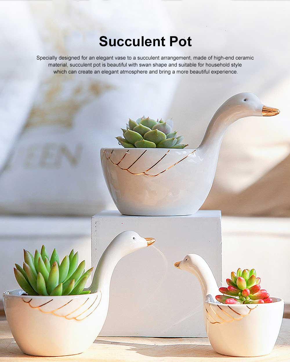 Ceramic Succulent Plant Pots With Swan Shape, Creative Succulent Green Plant Small Pot 0