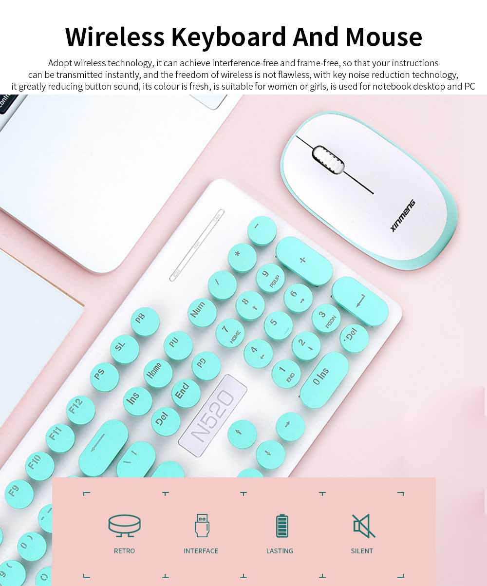Punk Wireless Mechanical Keyboard and Mouse Set for Office Girl Women Computer 0