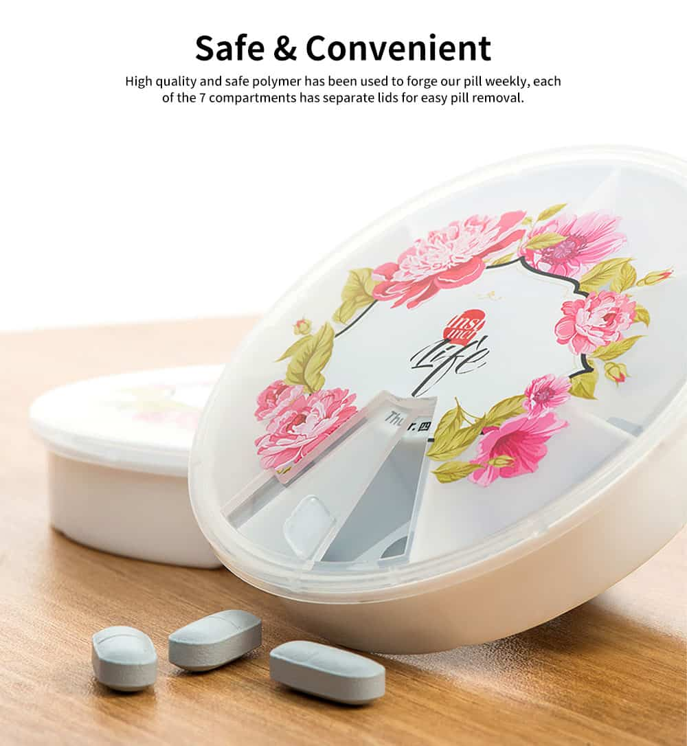 Cute Weekly Pill Organizer With Flower Print, Clear 7-Sided Pill Case For Traveling, Household Use 3