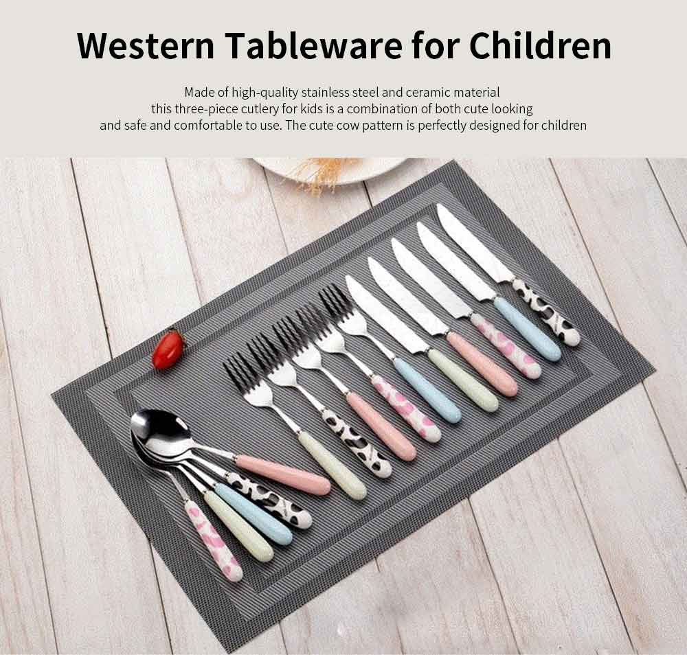 Spoons Forks Knives Set Set for Children, Stainless Steel and Ceramic Three-piece Tableware for Western Cuisine 0