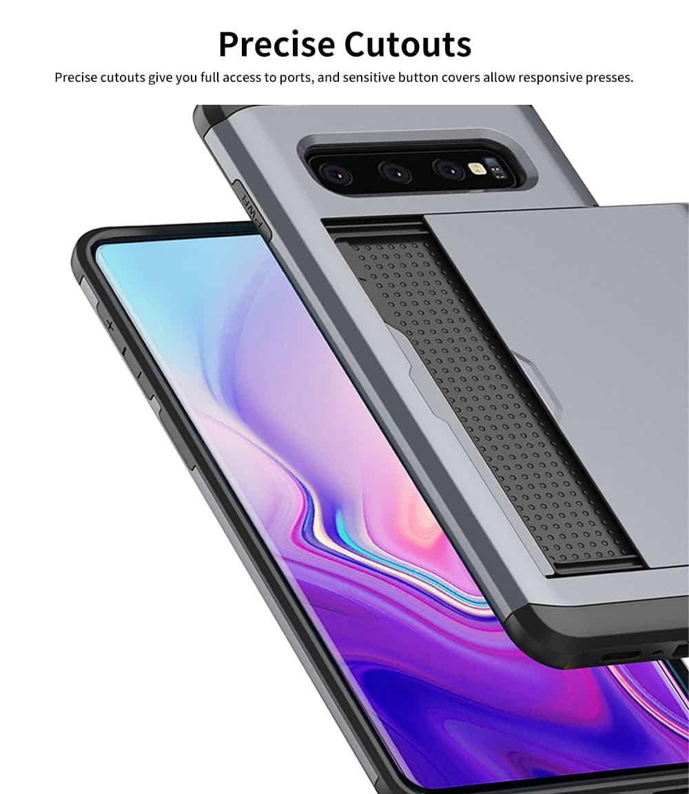 Protective Hard Shell for Samsung Galaxy S10, Phone Case Wallet Credit Card Holder with Sliding Door 5