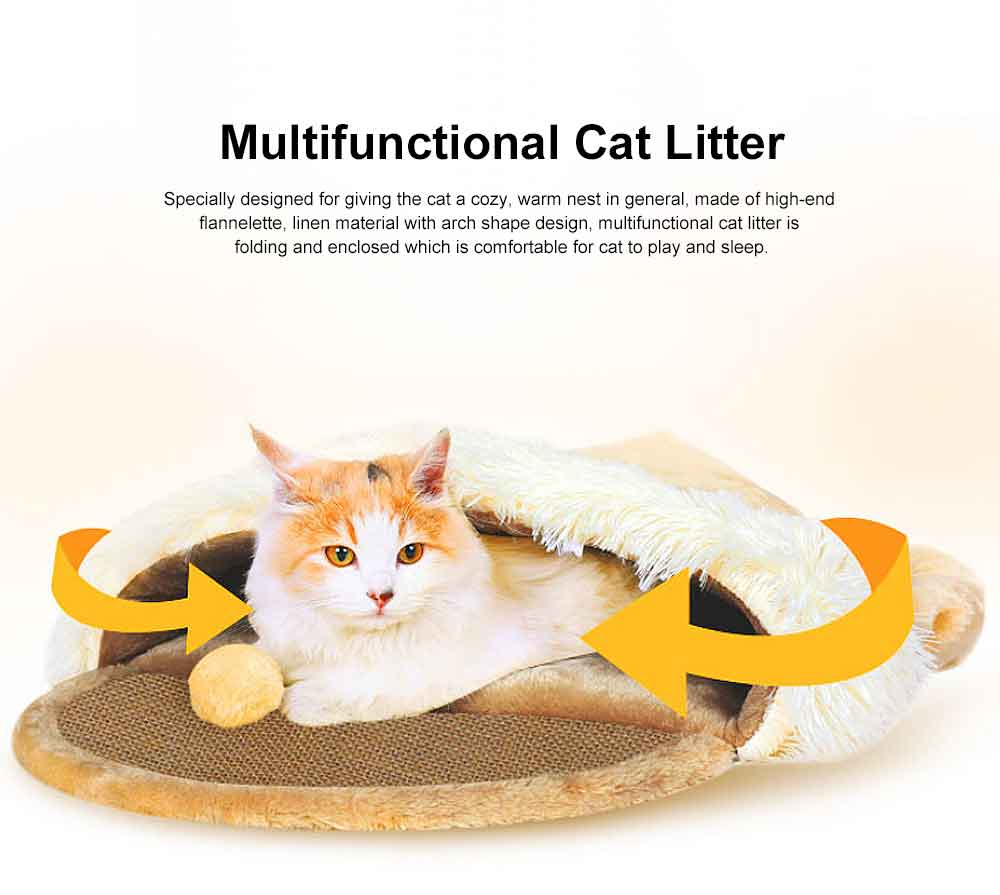 Multifunctional Cat Litter with Arch Design, Durable & Convenient Storage Cattery for Four Seasons Universal 0
