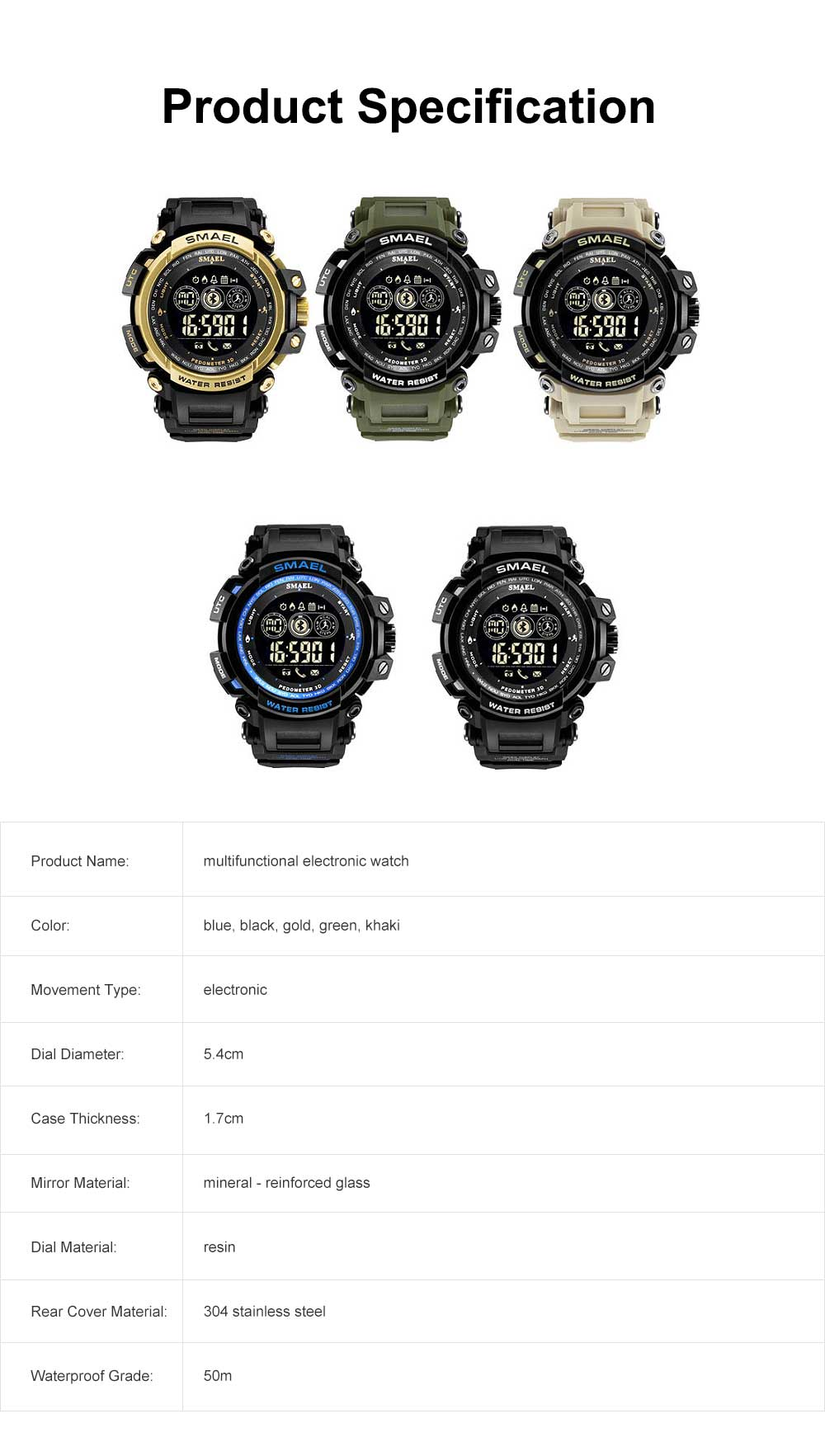 Water-poof Smart Bracelet with Resin Strap, Multifunctional Electronic Watch Supporting Sports Step with IOS/Android Bluetooth 6