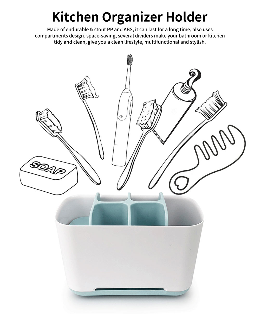 Multifunctional Toothbrush Stand Holder, Toothbrush Storage Shelf With Dividers 0