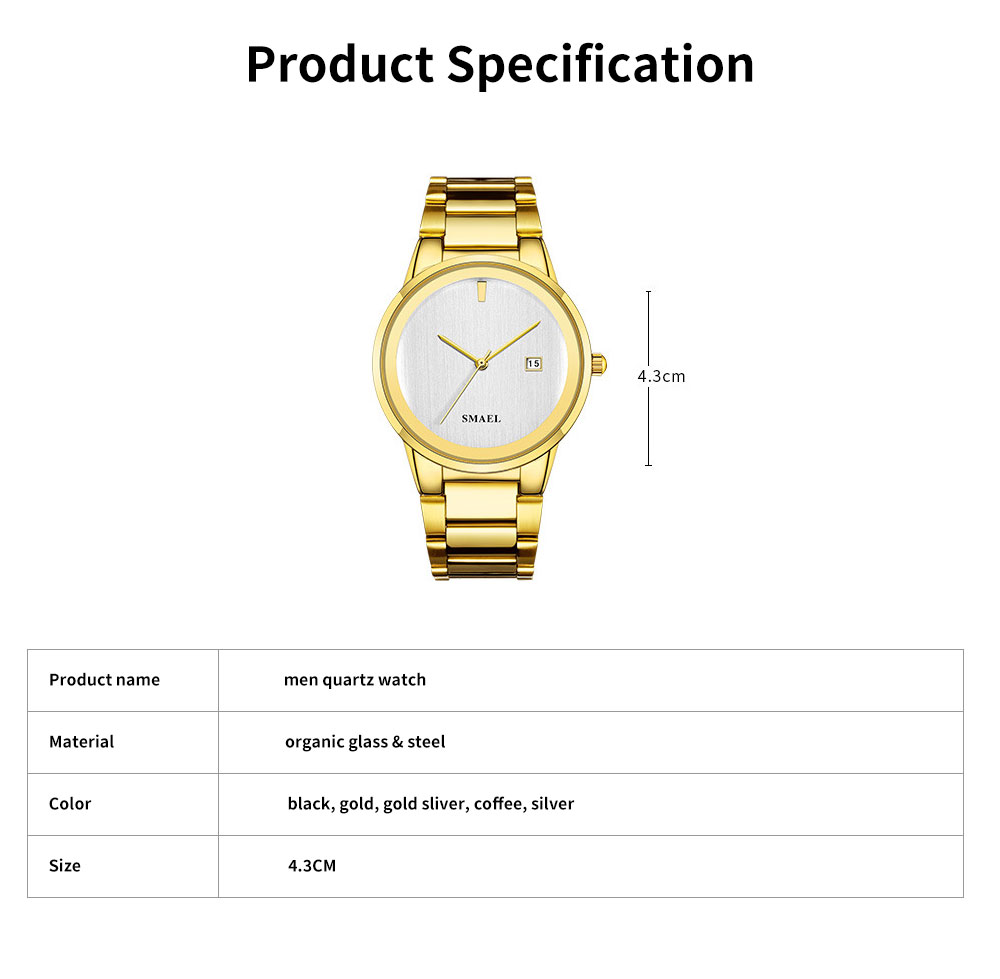 Men's Waterproof Quartz Watch with Steel Watch Strap, Fashionable Leisure Outdoor Sport Watch 6