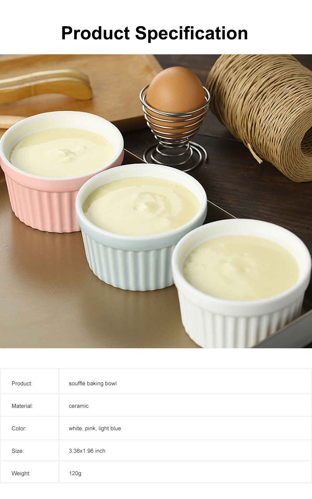 Round Ceramic Baking Cup, High Temperature Resistant Pudding Cup, Durable Souffle Baking Bowl 6