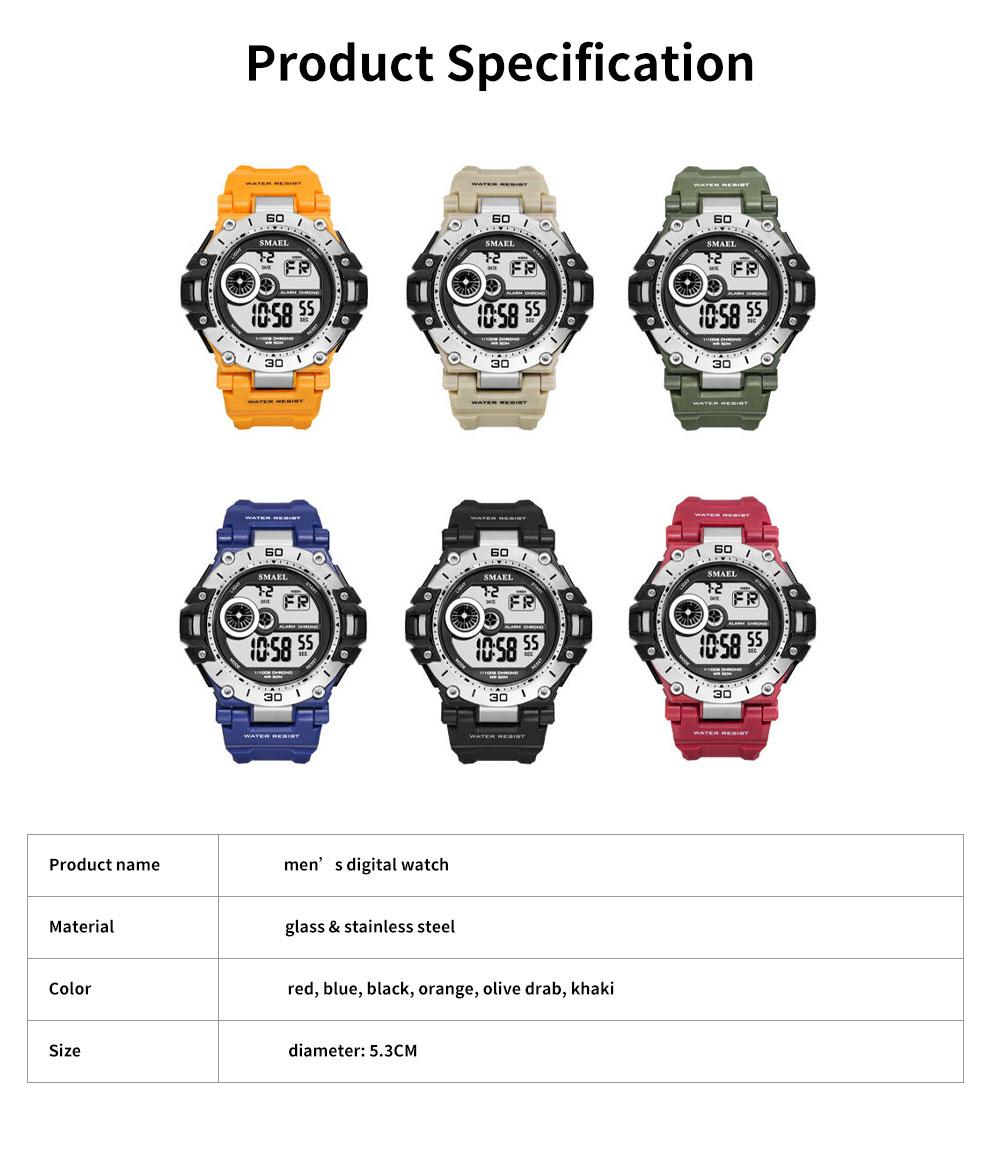 Men's Shockproof Sport Watch with Resin Strap, Digital Waterproof Watch for Outdoor Use 6
