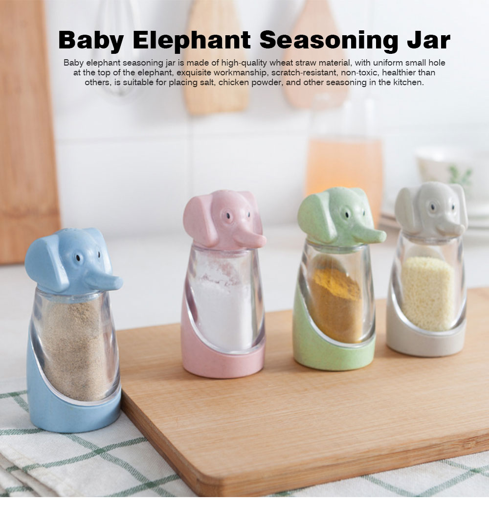 Elephant Seasoning Cruet for Baby, Wheat Straw Barbecue Pepper Condiment Bottle, 90g 0