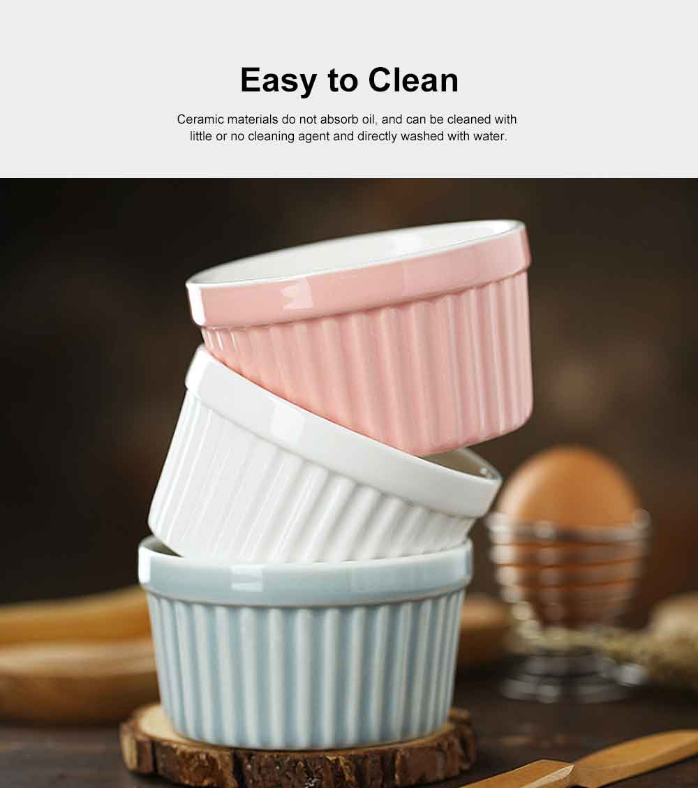Round Ceramic Baking Cup, High Temperature Resistant Pudding Cup, Durable Souffle Baking Bowl 4