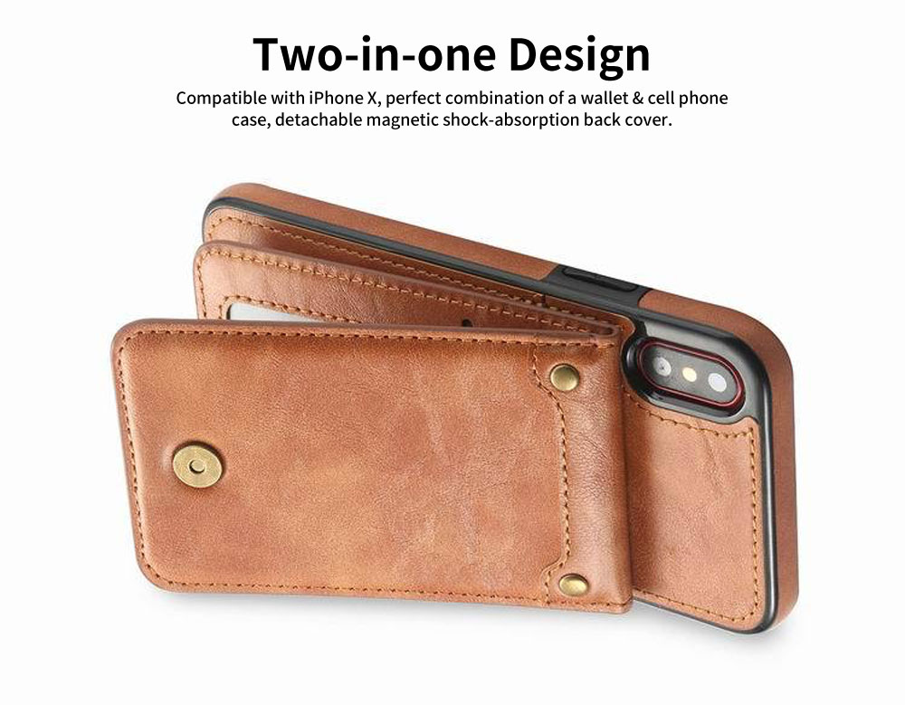 Detachable Leather Wallet Case for iPhone 7/8 Plus, iPhone X, High Quality Two-in-one Phone Case 1
