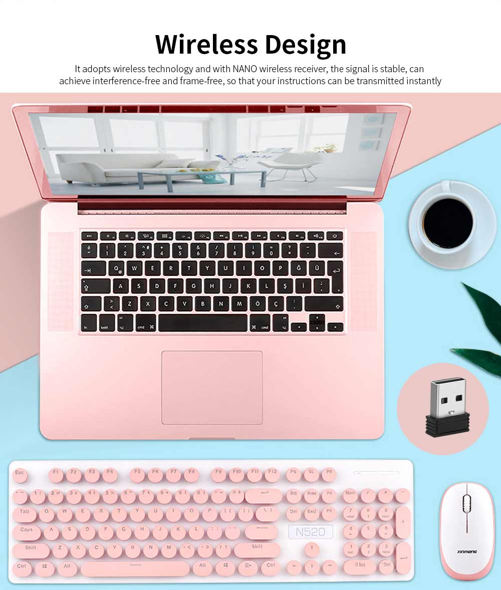 Punk Wireless Mechanical Keyboard and Mouse Set for Office Girl Women Computer 1