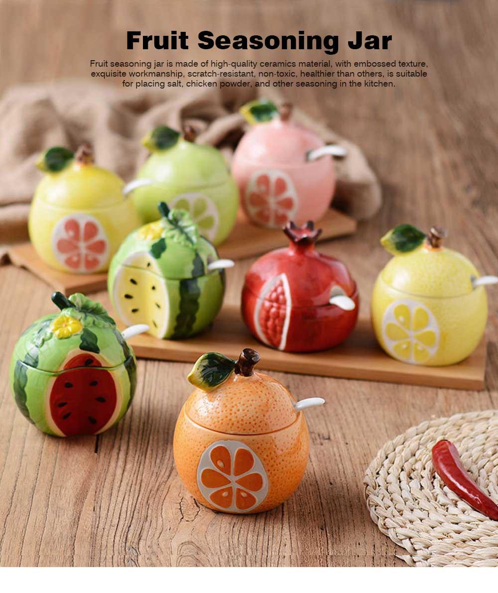 Ceramic Spice Jars With Lids, Cute Fruit Seasoning Jar For Placing Chili, Sugar, Salt 0