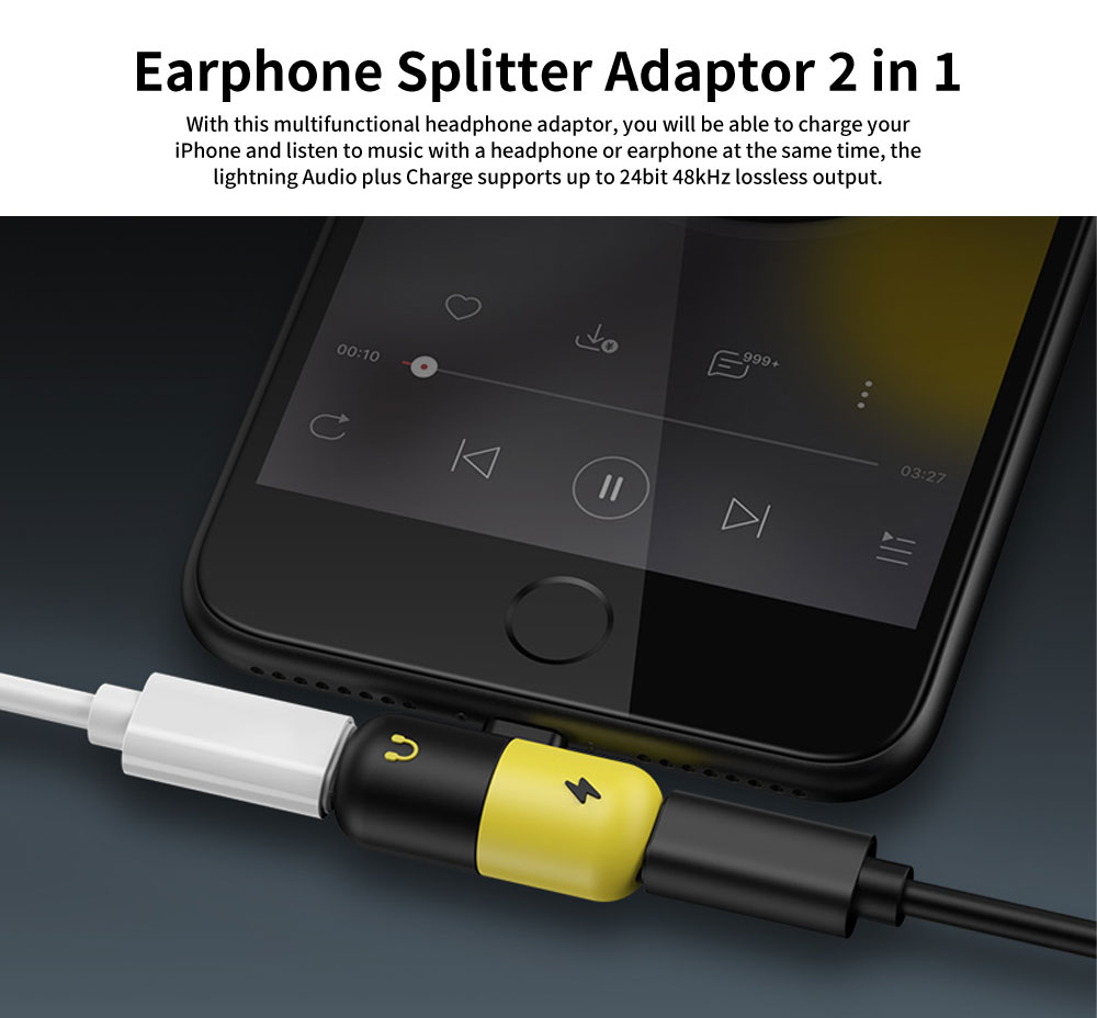 Headphone Adapter for iPhone, Earphone Splitter Adaptor, 2 in 1 Chargers & Audio Connector Charger Cable 6