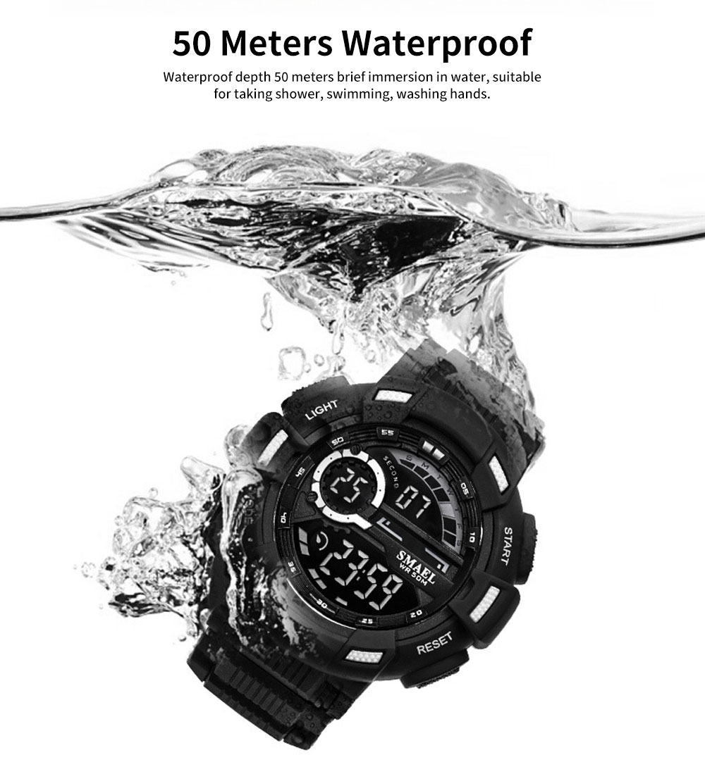 Men's Waterproof Sport Watch, Shockproof Digital Watch with Stainless Steel for Outdoor Use 4