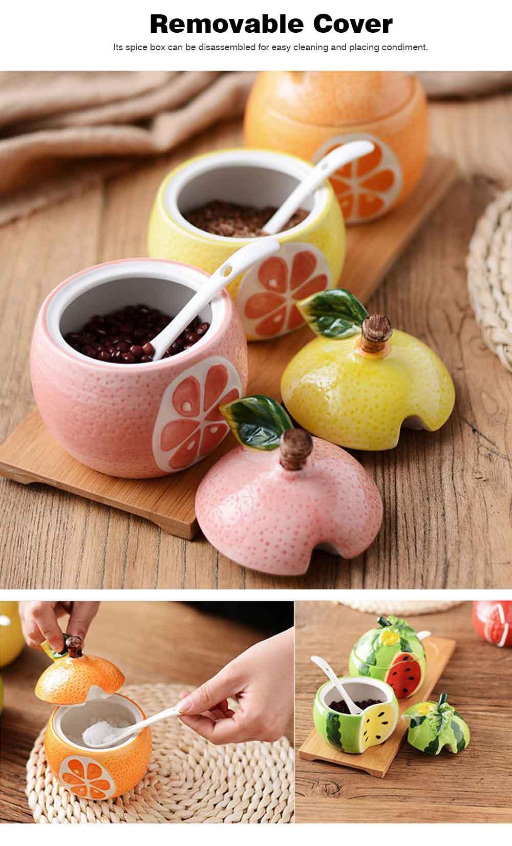 Ceramic Spice Jars With Lids, Cute Fruit Seasoning Jar For Placing Chili, Sugar, Salt 8