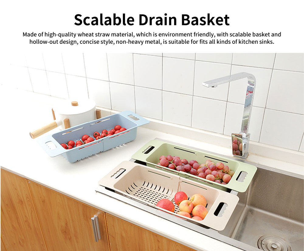 Scalable Drain Basket, Wheat Straw Hollow-out Fruit Basket 0