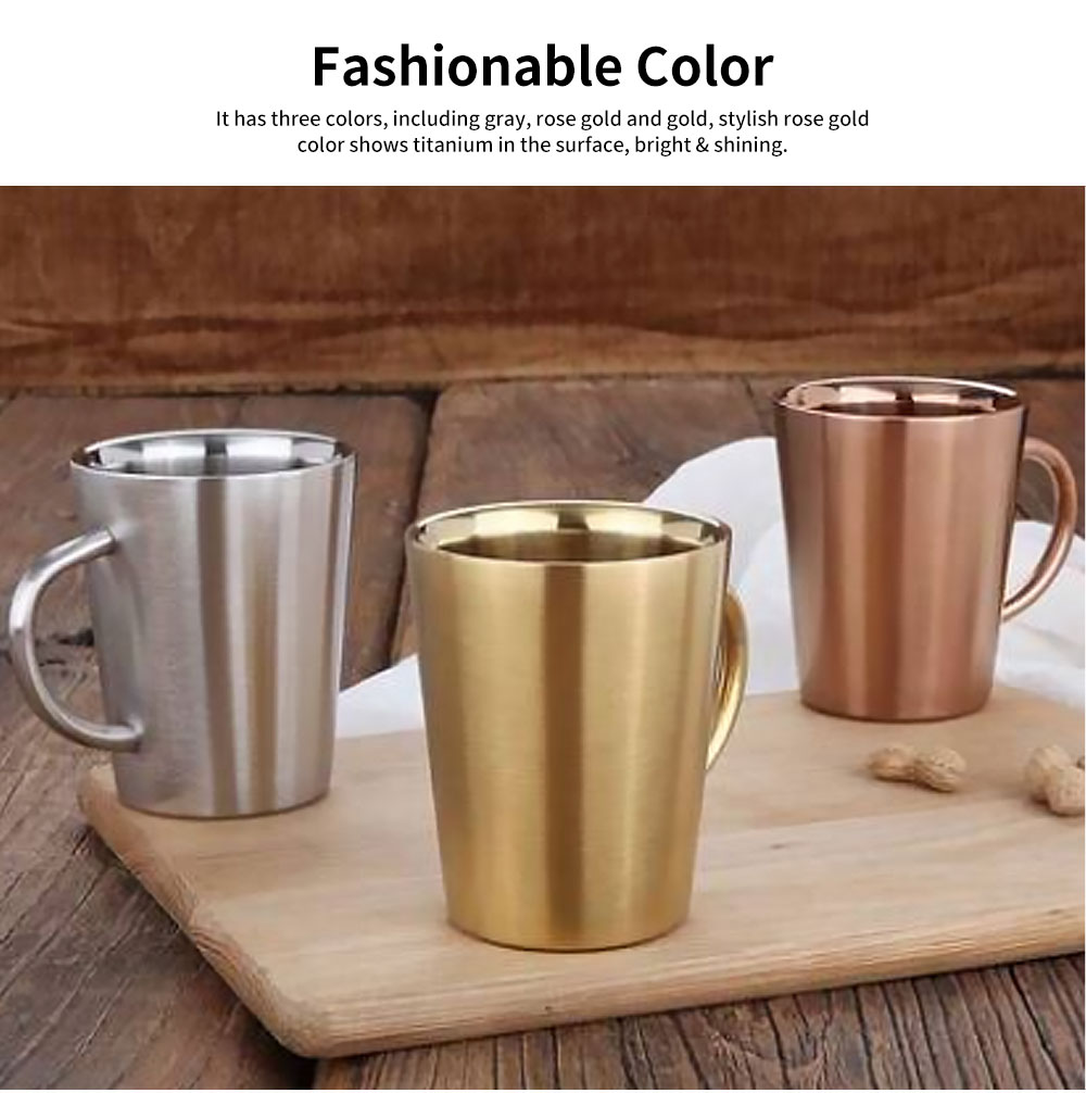 European Style Stainless Steel Mug with Double heat Insulation, Stylish Cup for Beer, Coffee, Milk, Cold Juice 2