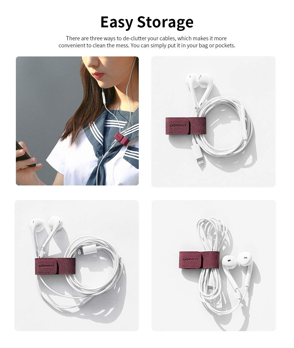 Leather Cable Management Buckle, Magnetic USB Cable Protector for Charging Lines or Earphones 1