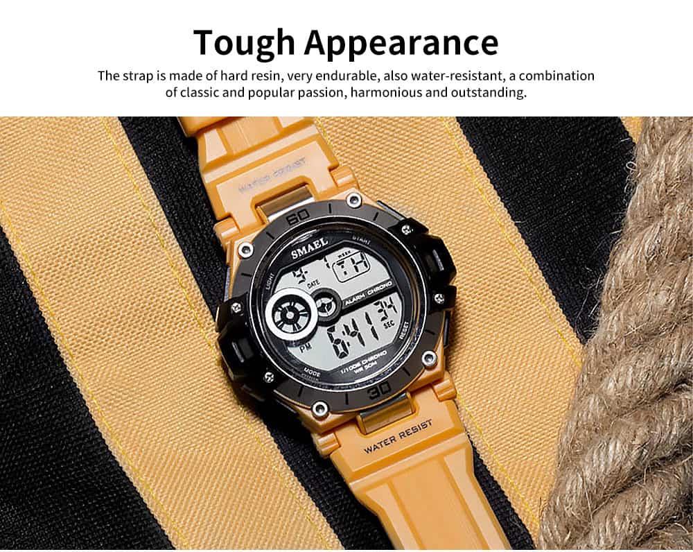 Men's Shockproof Sport Watch with Resin Strap, Digital Waterproof Watch for Outdoor Use 1