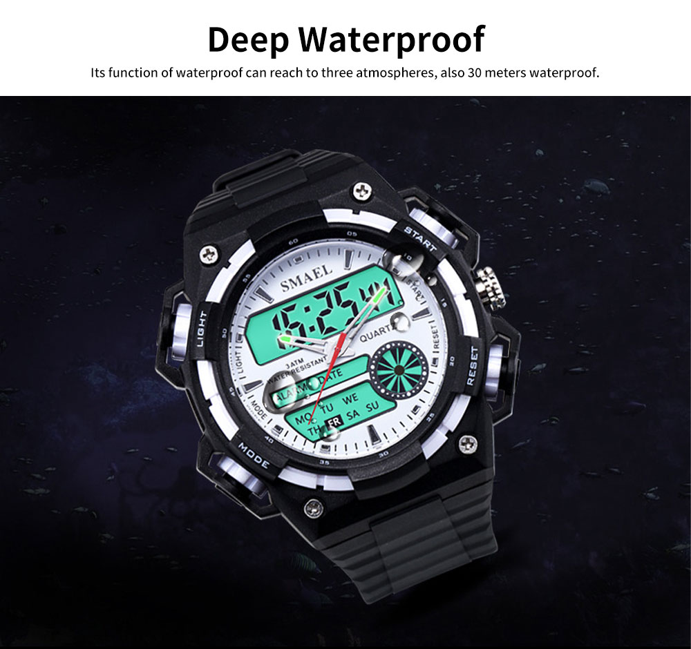 Men's Dual-replay Sport Watch, Waterproof & Fashionable Watch with Strap for Outdoor Use 1